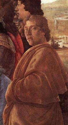 Botticelli na obraze Klanění Tří králů, kolem 1475 self-portrait