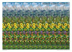 Stereogram by 3Dimka: Buterfly Meadow. Tags: flower, deer, mountain, cloud, butterflies, hidden 3D picture (SIRDS)