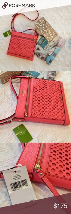 Kate Spade Coral Cross-body purse Kate Spade Coral Cross-body purse  ➳ Brand new, never worn ➳ No trades  ▽ 'Add to Bundle' & shop more items from my closet or click 'Buy' to checkout with your selected size.  I do offer bundle discounts! kate spade Bags Crossbody Bags