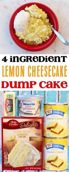 Lemon Dump Cake Recipe, Lemon Cake Mixes, Dump Cake Recipes, Dump Cakes, Easy Lemon Cake, Lemon Cakes, Frosting Recipes, Dessert Simple, Köstliche Desserts