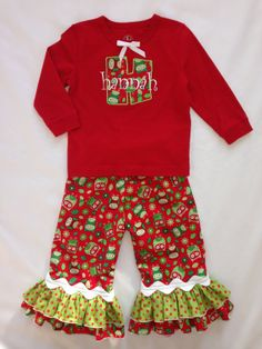 CHRISTMAS OWL 2piece SET Red Long Sleeve T with by littlehcdesigns