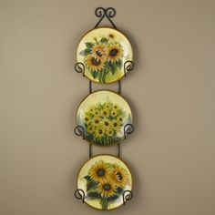 Sunflower Plates with Display Rack