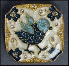 antique cold pressed enamel button