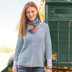 """PATCHWORK STITCHES PULLOVER--Our easy-fitting patchwork pullover with mixed stitches and marled tape yarn works perfectly with a graceful bateau neckline. Three-quarter sleeves. Cotton/polyester. Hand wash. Imported. Exclusive. Sizes XS (2), S (4 to 6), M (8 to 10), L (12 to 14), XL (16). Approx. 24""""L."""