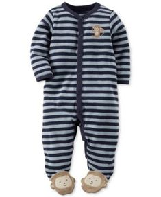 2cb7024a8f0 Carters Baby Boys Monkey Terry Snap-Up Sleep   Play Months