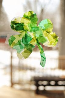 """Stained Glass"" Shamrocks. Fun craft for younger children to create!"