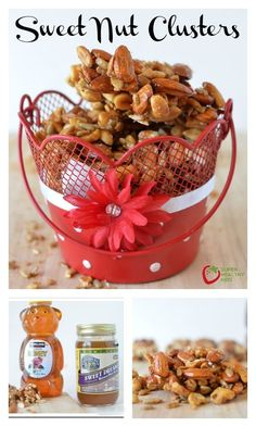 Sweet Nut Clusters - Crunchy, sweet, and full of healthy nuts- this snack is one we make more often than any other! http://www.superhealthykids.com/sweet-nut-clusters-recipe-for-your-sweeties/