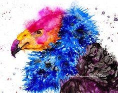 California Condor original painting - buzzard art, vulture art, condor art, colorful vulture, vulture spirit animal, bird art decor, - Indiana Artist