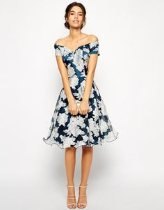 Chi Chi London | Chi Chi London Printed Organza Midi Prom Dress with Bardot Neck at ASOS