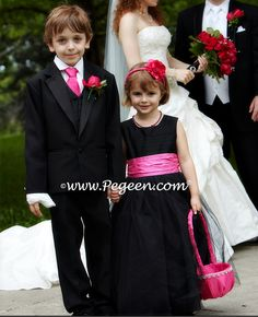 Black and Hot Pink tulle flower girl dress http://www.pegeen.com/flower-girl-dress-style-402.html available in 200+ colors and more than 1 billion style combinations #CustomFlowerGirlDresses #FlowerGirlDresses #weddings Visitor our virtual dressing room at http://www.pegeen.com/icloset