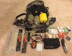 A few essentials for the when hunting the backcountry; You can never be over-prepared for a hunt, anything can happen Elk Hunting Colorado, Backpacking, Camping, Bow Hunting, Shtf, Archery, Alaska, Fishing, Survival