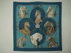 Hermes XL Scarf Silk Brides Legeres1974 RARE Turquoise Cream Grey Horses Francois Heron