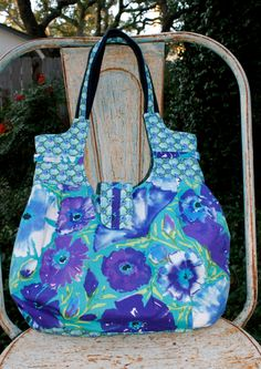 Lovely Lavender and Blue Floral Purse Lavender Blue and Lime Green Colors Shoulder Bag inside pockets detailed accents and handles - pinned by pin4etsy.com