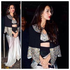 Malaika Arora Khan looked stunning in an Anamika Khanna outfit for Queenie Singh and Rishi Sethia's wedding bash last night. Taking a cue from the SS15 ramp, she teamed the draped ombre skirt with an embellished bustier top and cape. Christian Louboutin pumps and kundan earrings completed the demure look, with berry lips and luminous skin accentuating it. We love! #HauteStepper