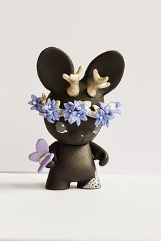 Micro Munny Jackalope Art Toy (black) - Thumbnail 2