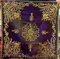 'Bohça' (wrapper). 'Goldwork' embroidery on velvet; technique: 'sarma' / 'Maraş işi'. Late-Ottoman, ca. 1900.