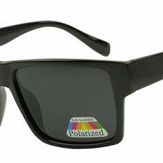 Classic square casual flat top polarized lenses sunglasses. Unisex design with dark black lenses. Style #6857-1. www.sunglassstopshop.com