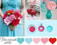 blue red and pink wedding inspiration board