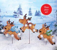 Reindeer in Flight Garden Stakes -Set of 3