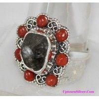 Rough Genuine Herkimer Diamond Coral Stone 925 Sterling Silver ..