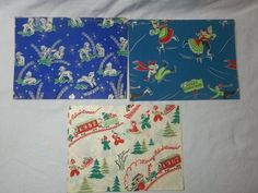 NICE lot Vintage Christmas Gift Wrap Wrapping Paper Santa Deer Skaters Trains (06/13/2015)