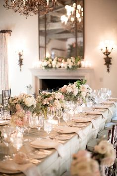 Romantic floral centerpieces for an indoor wedding reception #wedding #blacktie #weddingcenterpiece #weddingdecor #reception