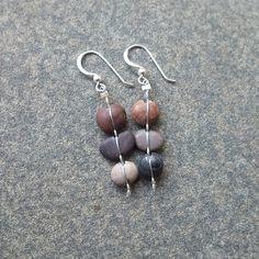unusual natural stone jewelry | Beach pebble jewelry - tiny natural stone earrings - naturally sourced ...