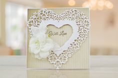 Ornamental Vintage Lace by Tattered Lace    For more information visit:  www.tatterelace.co.uk Wedding Cards, Wedding Invitations, Tattered Lace Cards, Lace Heart, Heart Cards, Lace Design, Vintage Lace, Wedding Engagement, Projects To Try