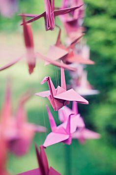 Close-up of the origami birds - Loveland Ohio Wedding Wedding Favors, Wedding Venues, Wedding Decorations, Origami Paper Art, Origami Birds, Origami Cranes, Paper Cranes, Loveland Ohio, Planners