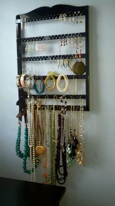 need to make something to organize all my earings & necklaces... maybe this?