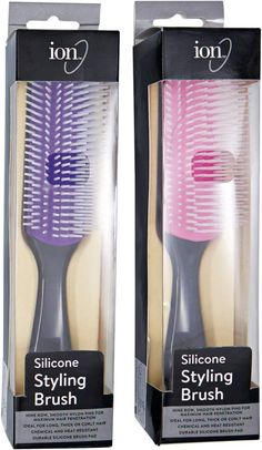 The durable ion 9 Row Silicone Brush is heat and chemical resistant. Ideal brush for long, thick and curly hair. Denman Hair Brush, Best Detangling Brush, Curly Hair Brush, Natural Hair Care Tips, Natural Hair Styles, Braided Hairstyles, Cool Hairstyles, Baddie Hairstyles, Elegant Hairstyles