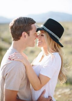 I'm absolute dying over this adorable engagement shoot by M. felt  Photography. Not only is the couple super cute, but their style is killer,  and itfits in perfectly with the natural beauty of Nevada's Red Rock  Canyon National Park. See below for some totally swoon-worthy shots.  Congratulations on your engagement,Jackie and Danny!