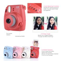 Fujifilm Instax Mini 8 Camera Film Photo Instant Cam Close Up Lens Auto Metering Instax Mini 8 Film, Polaroid Instax Mini, Fujifilm Instax Mini 8, Polaroid Camera Fujifilm, Polaroid Cameras, Instax Mini Ideas, Polaroid Pictures, Mini Camera, Pop Up