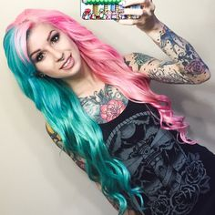 Wonderful Half & Half hair color style~ teal green with pastel pink~
