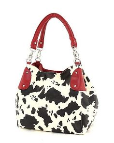 Cow print handbags Red trim purse Things To Buy, Girly Things, Cow Outfits, Farm Fashion, Cow Gifts, Cow Art, Beautiful Bags, Fashion Prints, Cow Clothing