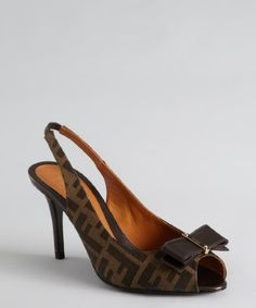 Fendi: tobacco zucca canvas bow peep toe slingback pumps on sale for $475.00.  Retail: $590.00