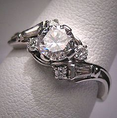 Antique Vintage Diamond Wedding Ring Art Deco 1ctw Band