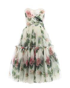Dolce & Gabbana Silk Dress Rose in Green - Lyst Rose Print Dress, Pink Midi Dress, Wrap Dress Floral, Rose Dress, Fitted Midi Dress, Green Dress, Dress Up, Silk Dress, Casual Dresses