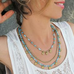 * Turquoise Brass Necklace * Turquoise Boho Necklace * Turquoise Necklace * Bohemian Necklace The layered necklace combines the beauty of brass and turquoise in one piece. Made with solid brass coin pendants and turquoise glass beads this design expresses Tribal Jewelry, Beaded Jewelry, Jewelry Necklaces, Brass Jewelry, Jewelry Box, Leather Jewelry, Gold Jewellery, Jewelry Making, Jewellery Designs