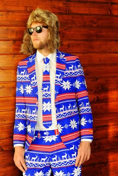 "'Ugly-Christmas-Sweater'-Suits Wonderful! I want! Also the photographs are hilarious.  ""Shinesty has released a line of three incredible suits inspired by ugly Christmas sweaters"""