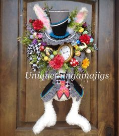 Hey, I found this really awesome Etsy listing at https://www.etsy.com/listing/223850180/mad-hatter-rabbit-easter-spring-wreath