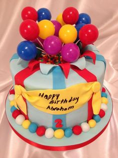 Boy birthday cake fondant elephant balloons Love it with the 2 on