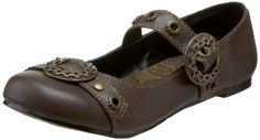 Amazon.com: Demonia by Pleaser Women's Daisy-09 Mary-Jane Flat,Brown Polyurethane,7 M US: Shoes