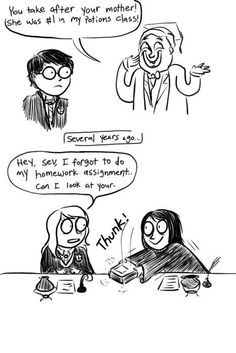 This is a good point... Also, it means both the Potters have aced Potions only through Snape's help.