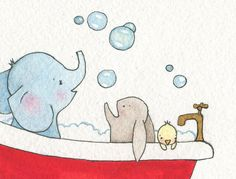 "Childrens Bathroom 8 x 10"" Fine Art Print, elephant, rabbit and duck in bath tub picture"