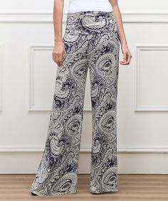 Look what I found on #zulily! Black & White Paisley High-Waist Palazzo Pants by Reborn Collection #zulilyfinds