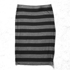 Black & Gray striped skirt Black and gray striped skirt by Banana Republic. Fitted and hits below the knee. Super comfortable as it is made of a viscose/spandex blend. Great for work or casual! Banana Republic Skirts Midi