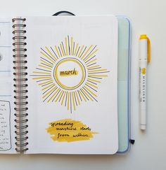 """jilicorn: """"March cover page ☀ Decided to go for a sun/yellow theme this month in my bullet journal """""""