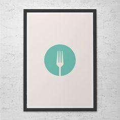 "KITCHEN WALL ART - Minimalist Kitchen Poster Giclee Art Print Ikea Ribba ""Fork"" Kitchen Poster Coffee Poster Coffee Wall Art"