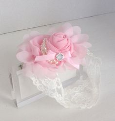 Baby Headband, Vintage inspired headband in pink featuring a beautiful chiffon rosette and two stunning row of pearls and satin bow with a